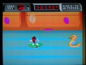 I loved the detail put into this stage, where you're treading across a wading pool by completeing some of the trickiest jumps in the game.